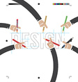 Hand With Pencils With Print Calibration Elements vector image vector image
