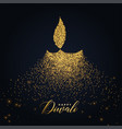 happy diwali diya design made with glowing vector image vector image
