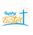 happy easter holiday religious calligraphic text vector image