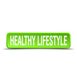 healthy lifestyle green 3d realistic square vector image vector image
