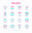 holiday thin line icons set sun yacht ice vector image vector image