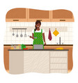 housewife in apron cooking soup in kitchen vector image