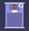 insomnia conceptual young black man lying in the vector image vector image