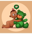 Little Indian girl hugging teddy bear green vector image