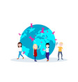 man woman team character search at globe mark with vector image vector image