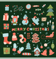 mega set cute christmas characters and vector image