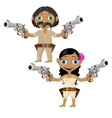 Mexican man and woman with guns character vector image vector image