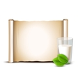 Milk in glass green leaves Paper scroll vector image