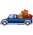 Pick up truck loaded with bags vector image vector image