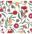 seamless floral pattern with blooming flowers vector image vector image