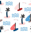 seamless pattern with sailboats marine summer vector image