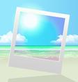seashore polaroid frame pic vector image