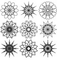 set of nine round elements flowers and snowflakes vector image vector image