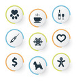 set of simple colony icons vector image