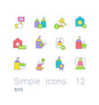 set simple line icons b2g vector image vector image