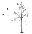 silhouette of birds with tree and birdcage vector image vector image