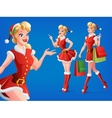Smiling girl in Santa costume in different poses vector image vector image