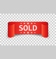 Sold ribbon icon discount sale sticker label on vector image