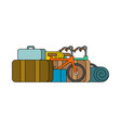 things for weekend bicycles and suitcases camping vector image