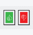 thumbs up and down picture frames vector image