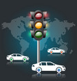 traffic light car road vector image