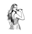 vintage of girl singer vector image
