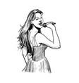 vintage of girl singer vector image vector image