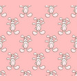 white rabbit on pink background vector image vector image