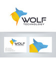 wolf technology logo design vector image vector image