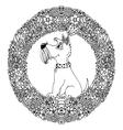 zentangl dog in a circular vector image