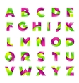 Fun english alphabet green and pink color letters vector image