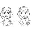 Woman operator vector image