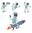 astronaut in space character having fun vector image vector image