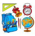 backpack packed with school items alarm clock vector image vector image