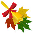 bell with red bow and maple leaves vector image