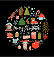 big collection winter holidays objects flat vector image