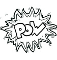 black and white cartoon comic book pow symbol vector image vector image