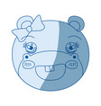 blue color shading silhouette face of female hippo vector image vector image