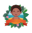 boy in summer cartoon vector image