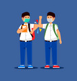 boy moslem elbow bumping when meet friend vector image vector image