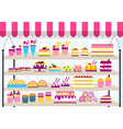 cake stand in shop sweet for vector image
