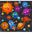 cartoon planets solar system space universe vector image