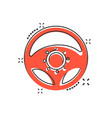 cartoon steering wheel icon in comic style rudder vector image