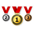champions gold silver and bronze award medals vector image