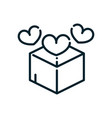 charity box with hearts love peace and human vector image vector image