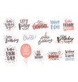 collection colorful birthday wishes or hand vector image vector image