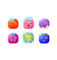 collection of glossy buttons colorful cubes with vector image