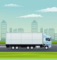 color background city landscape with truck in vector image vector image