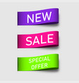 colorful tags ribbons banners new sale and vector image vector image