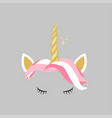 cute pink gold unicorn design icon vector image